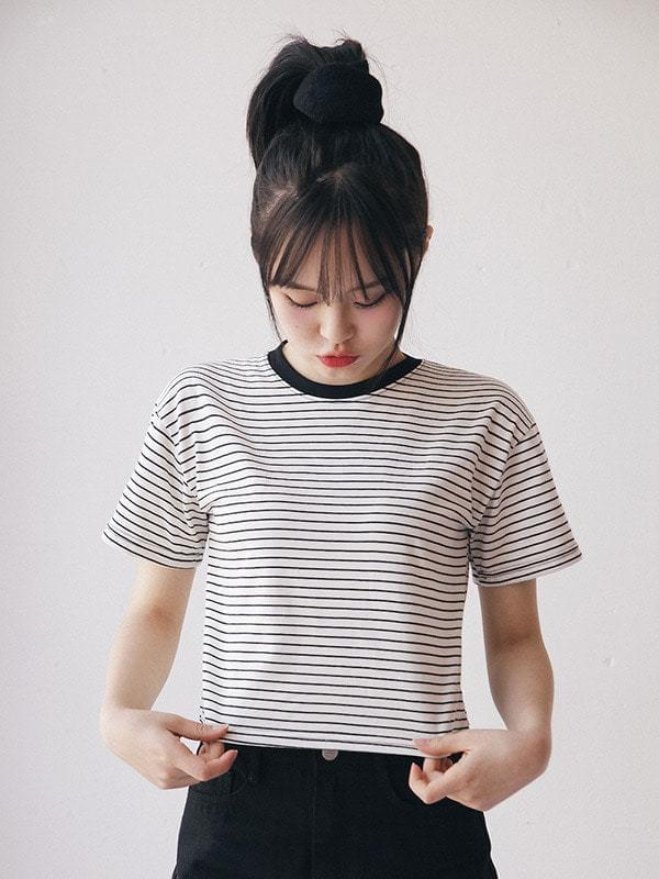 Kamchat Striped Crop Short Sleeve Polo Shirt