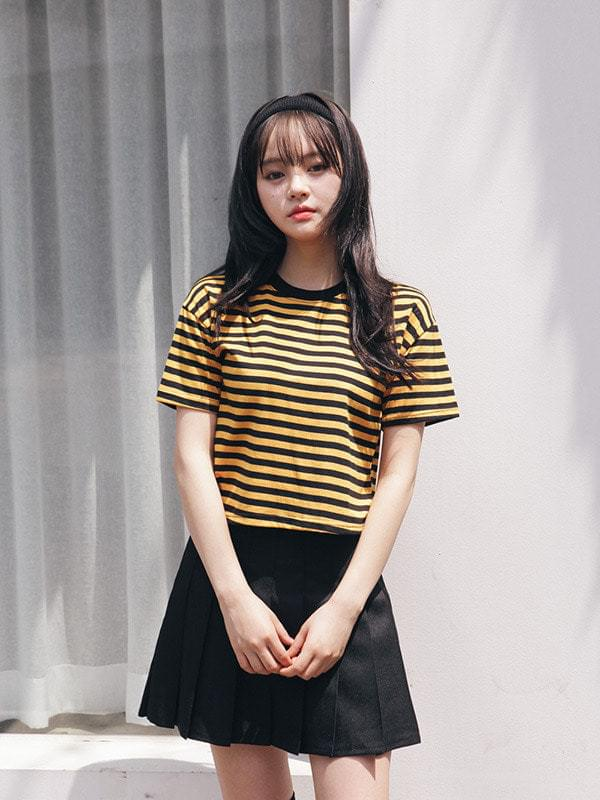 Daily Striped Crop Short Sleeve Polo Shirt