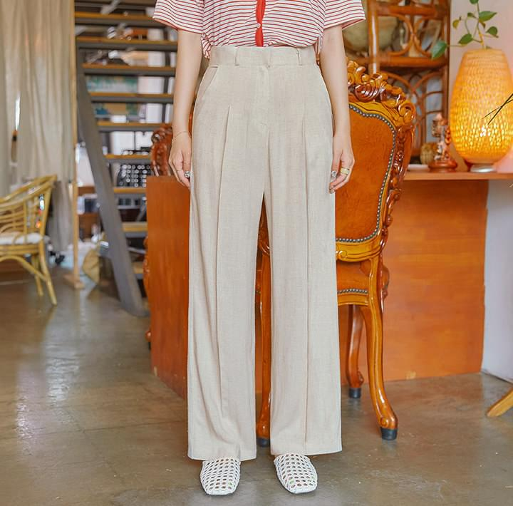 ELLDO LINEN PINTUCK WIDE SLACKS