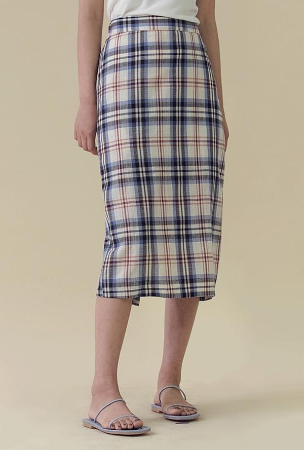 Check waistband long skirt