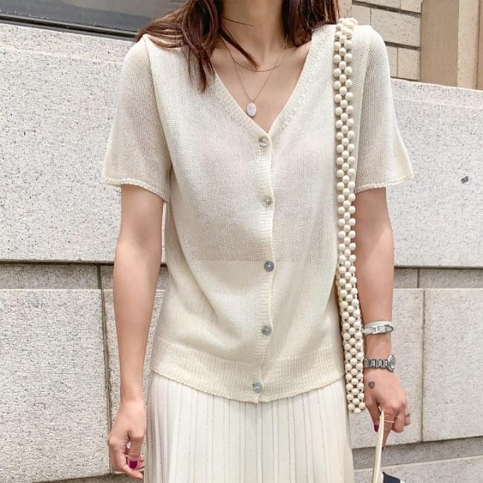 Summer V-neck short-sleeved cardigan