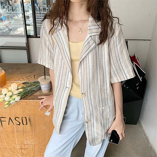 Linen short sleeve jacket