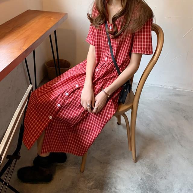 Linen Mellie Check Dress