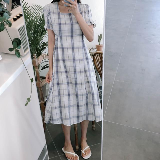 Strap Melody Check Long Dress