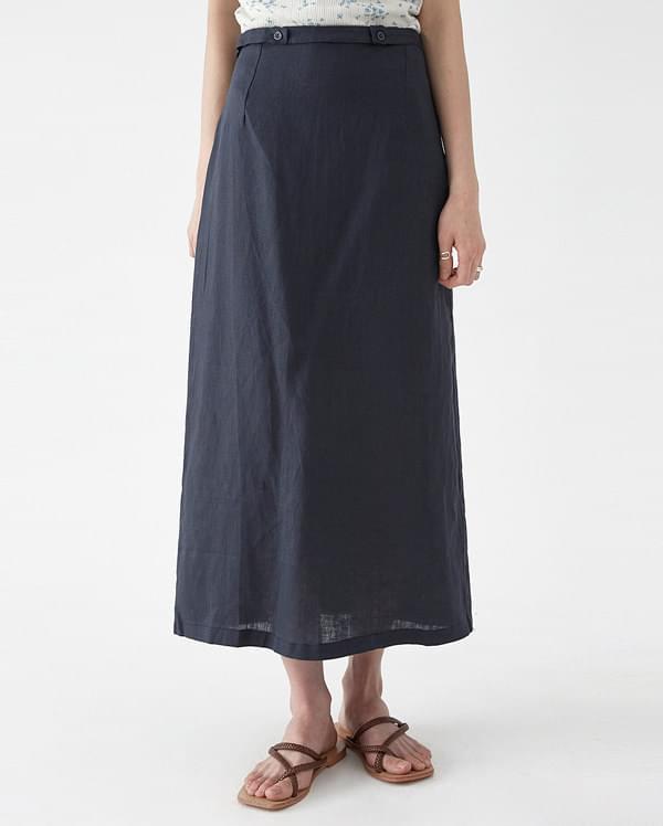 linen button line skirt