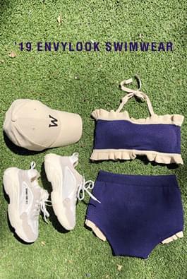 Knit frill bikini