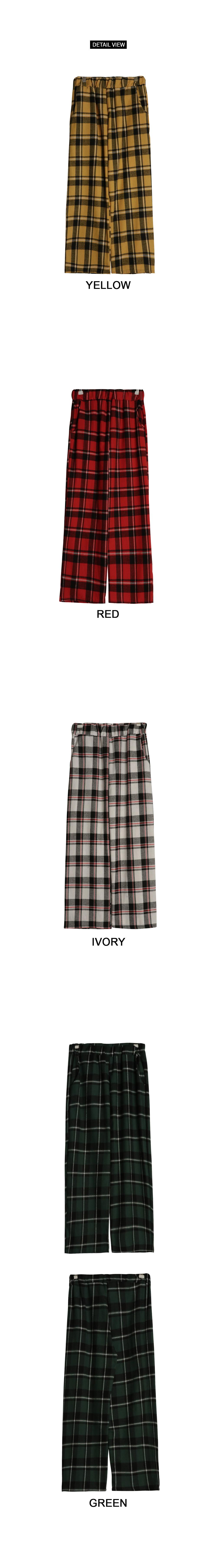 Clover check cotton pants