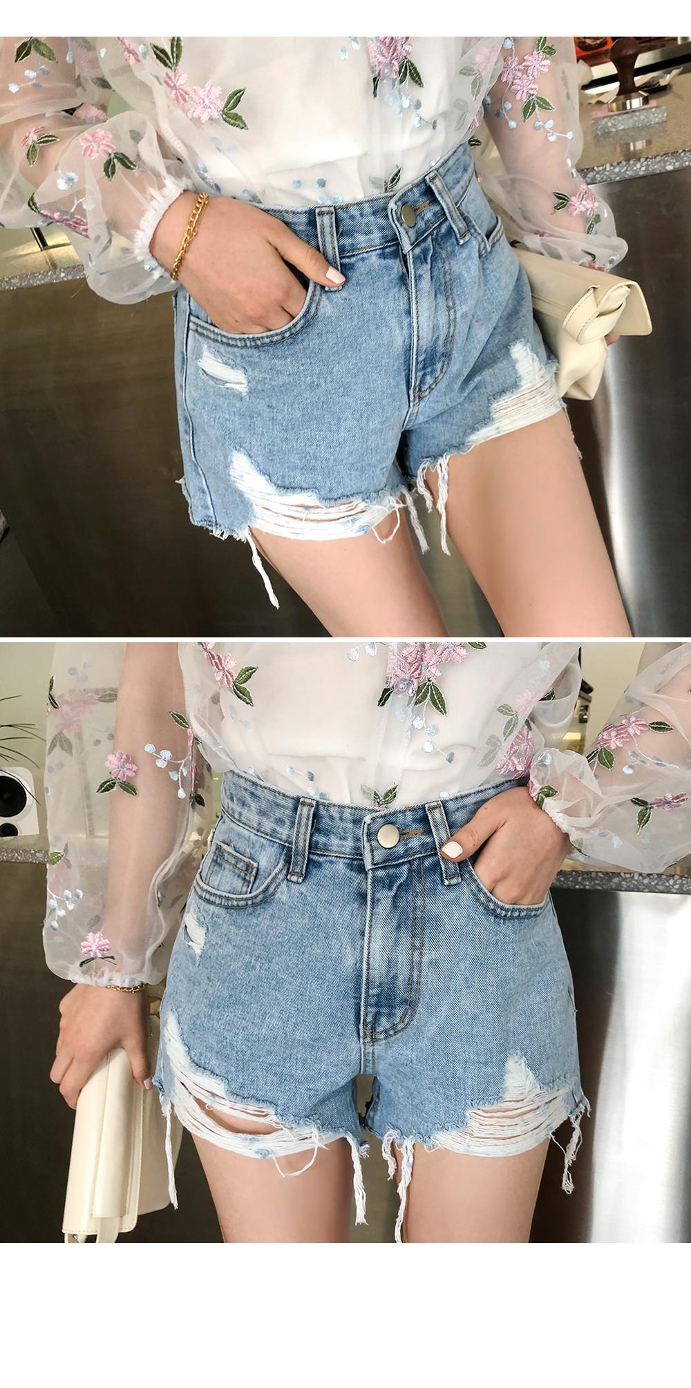 Damage Short Denim Pants