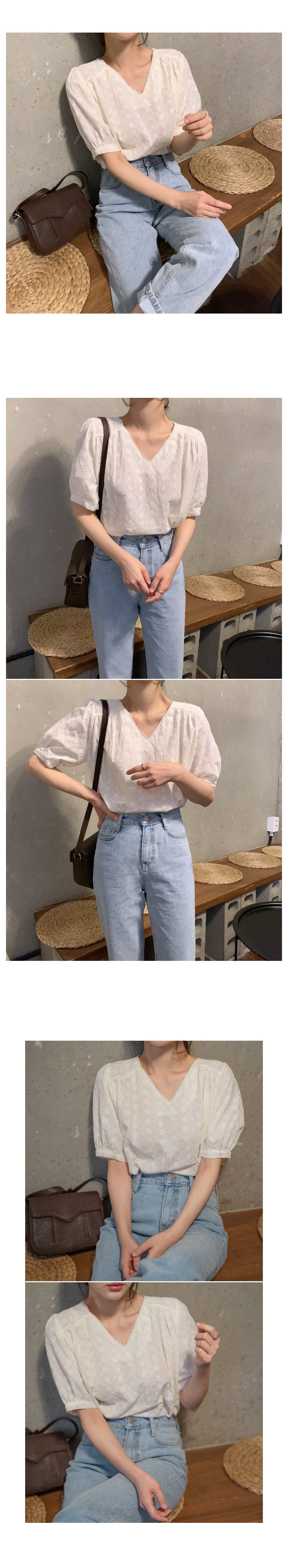Apple punching cotton blouse