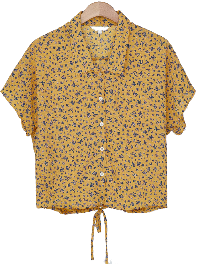 flower pattern string blouse