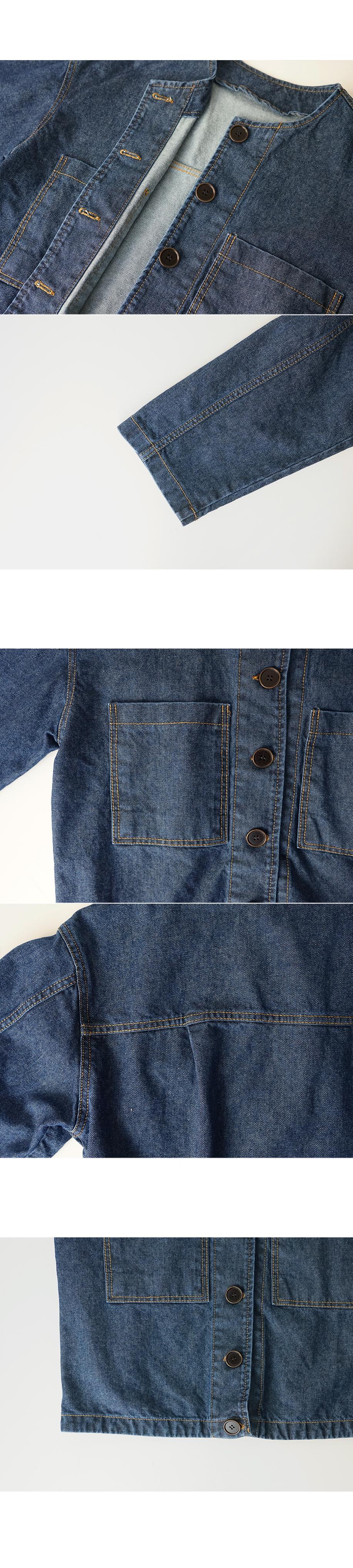 non collar pocket denim jacket