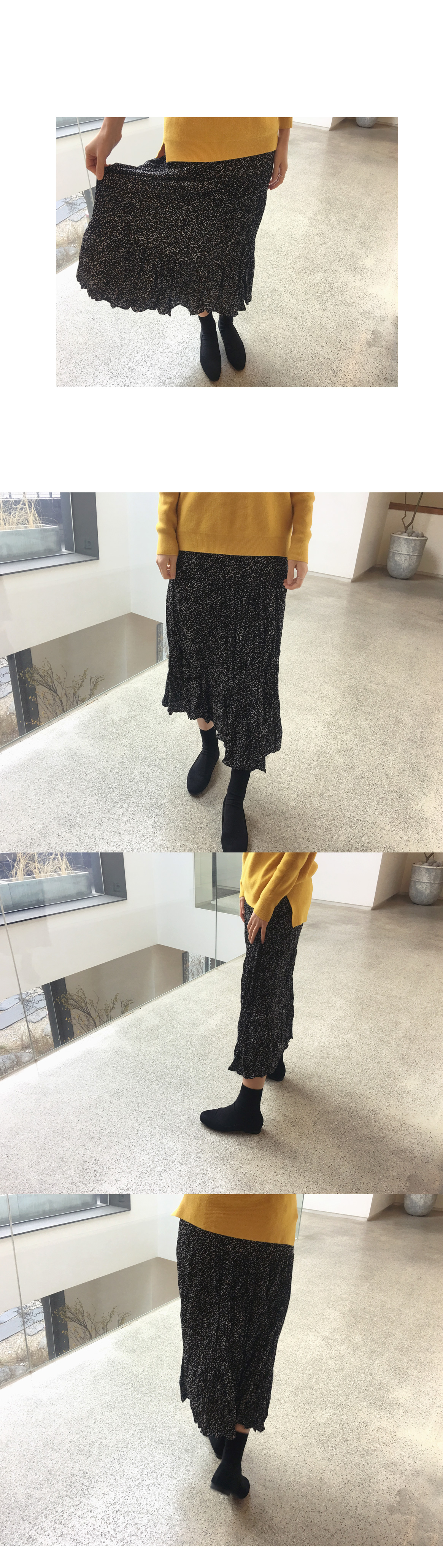 Dotted Wrinkle Skirt