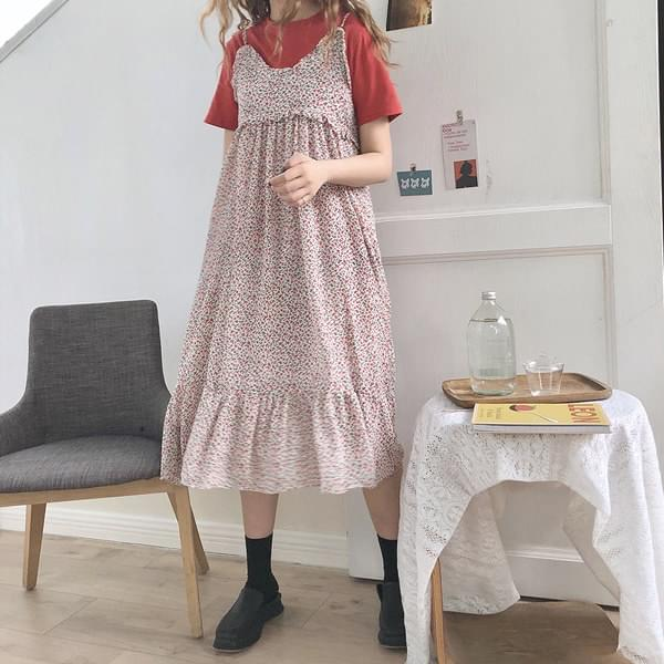 Mini flower frill long dress