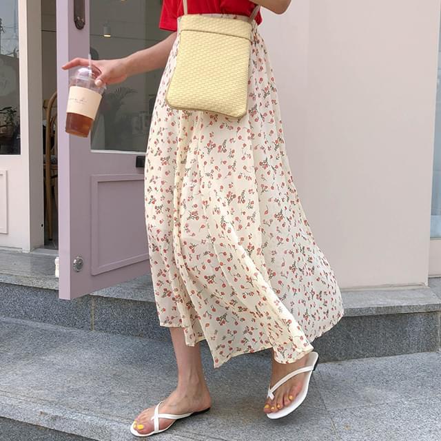 Flower lime chiffon skirt