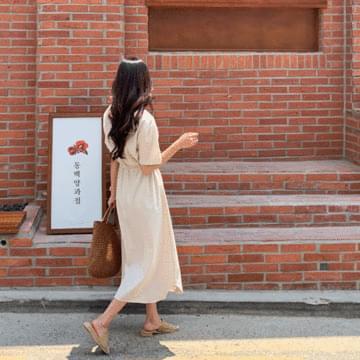 Linen to Pocket Strap Long Dress
