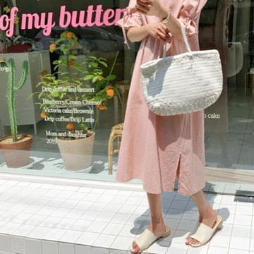 Linen Pitch Strap Long Dress