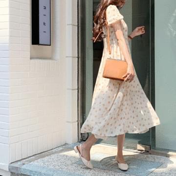 Mimi flower frill long dress