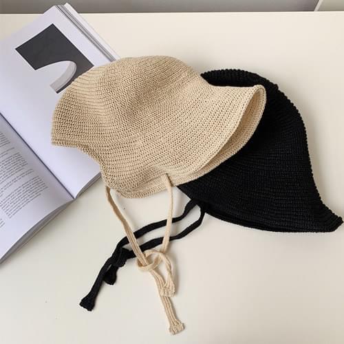 Knit strap sun visor hat