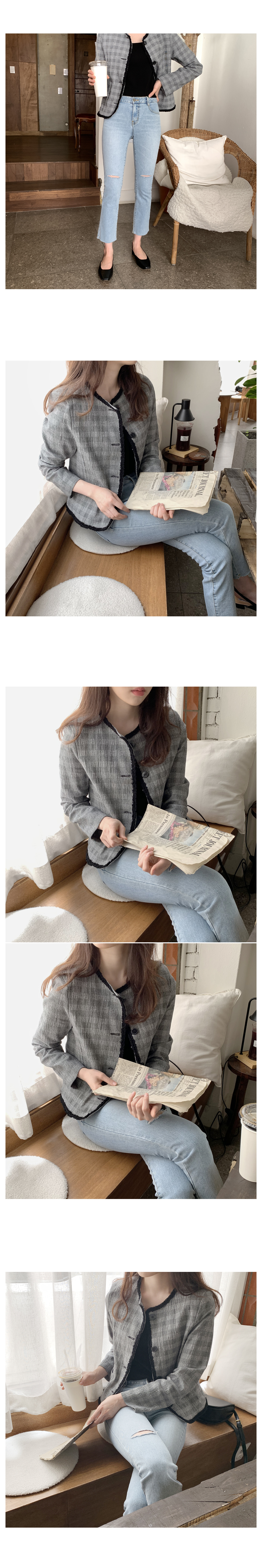Black Tea Linen Check Short Jacket