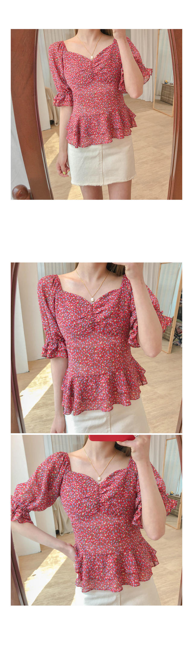 Frill candy flower blouse
