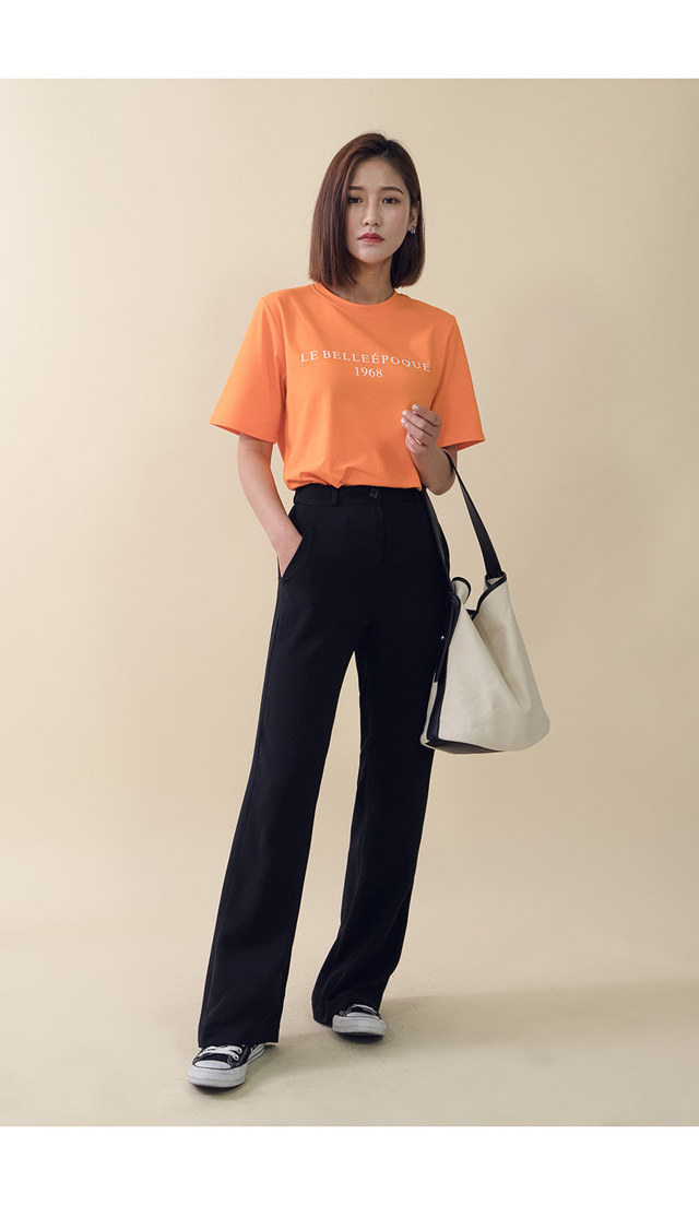 Short Sleeve Lettering Round Neck T-Shirt