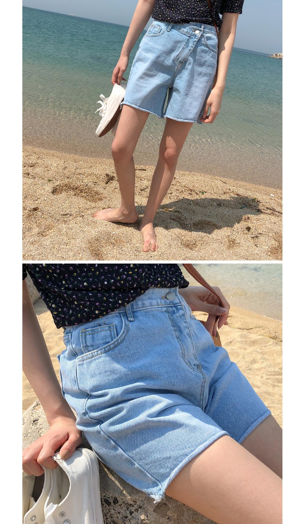 unbalance zipper denim shorts