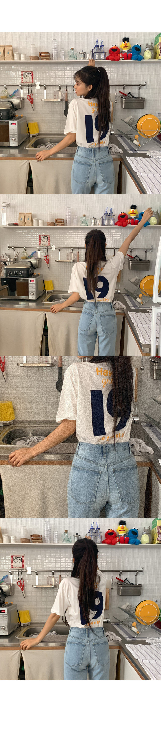 Glam Back Lettering Cotton Short Sleeve Tee