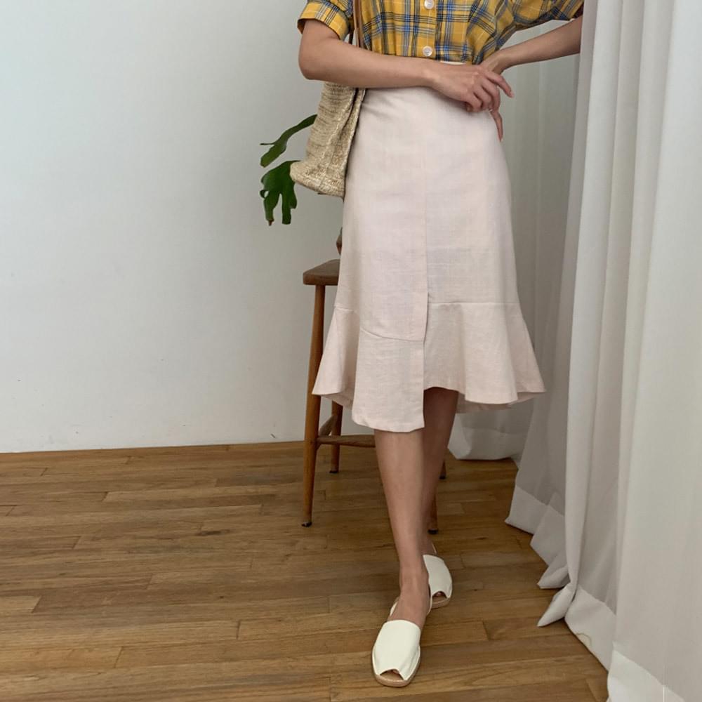 Petal unlined linen long skirt