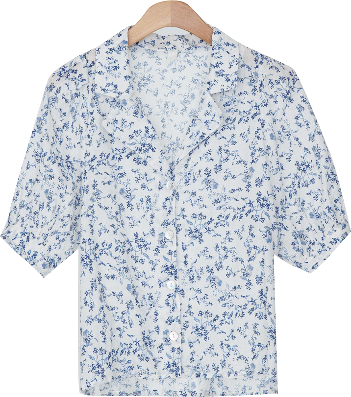 girlish puff flower blouse