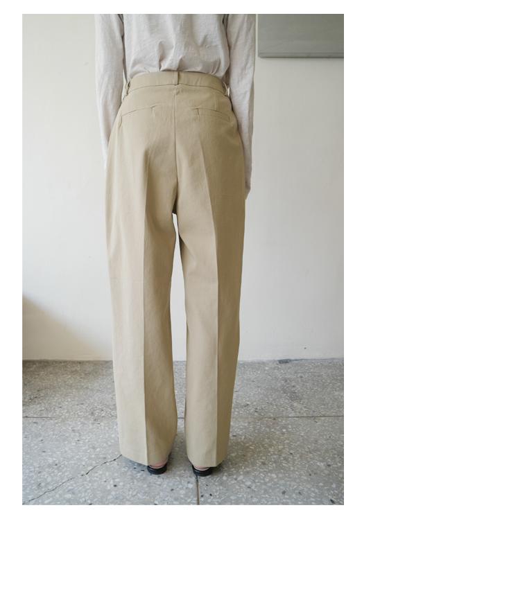 straight pintuck cotton pants
