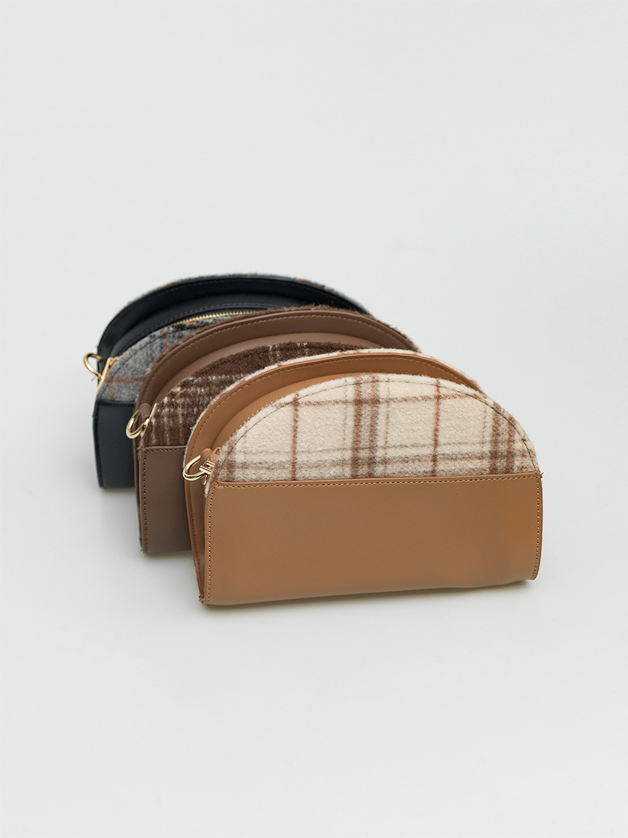 check pattern leather bag