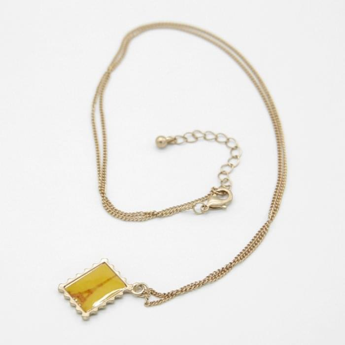 Stamped double-sided long necklace