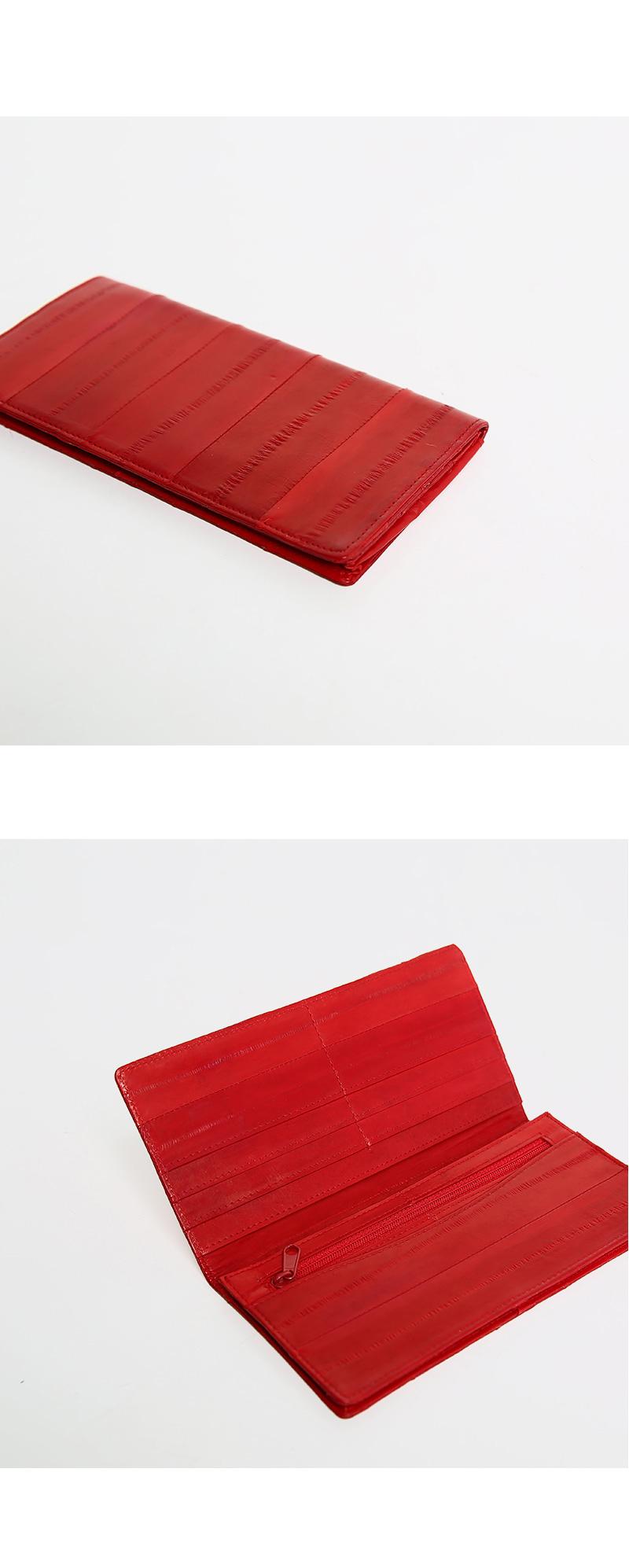 Simple long wallet real eel leather