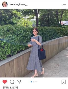 韓國空運 - Helen check banding ops_Y 及膝洋裝