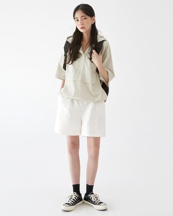 nov hood button anorak blouse