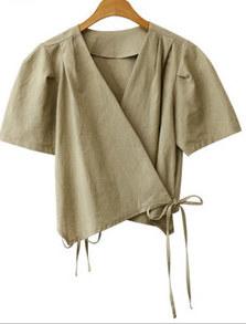 Puff linen wrap blouse