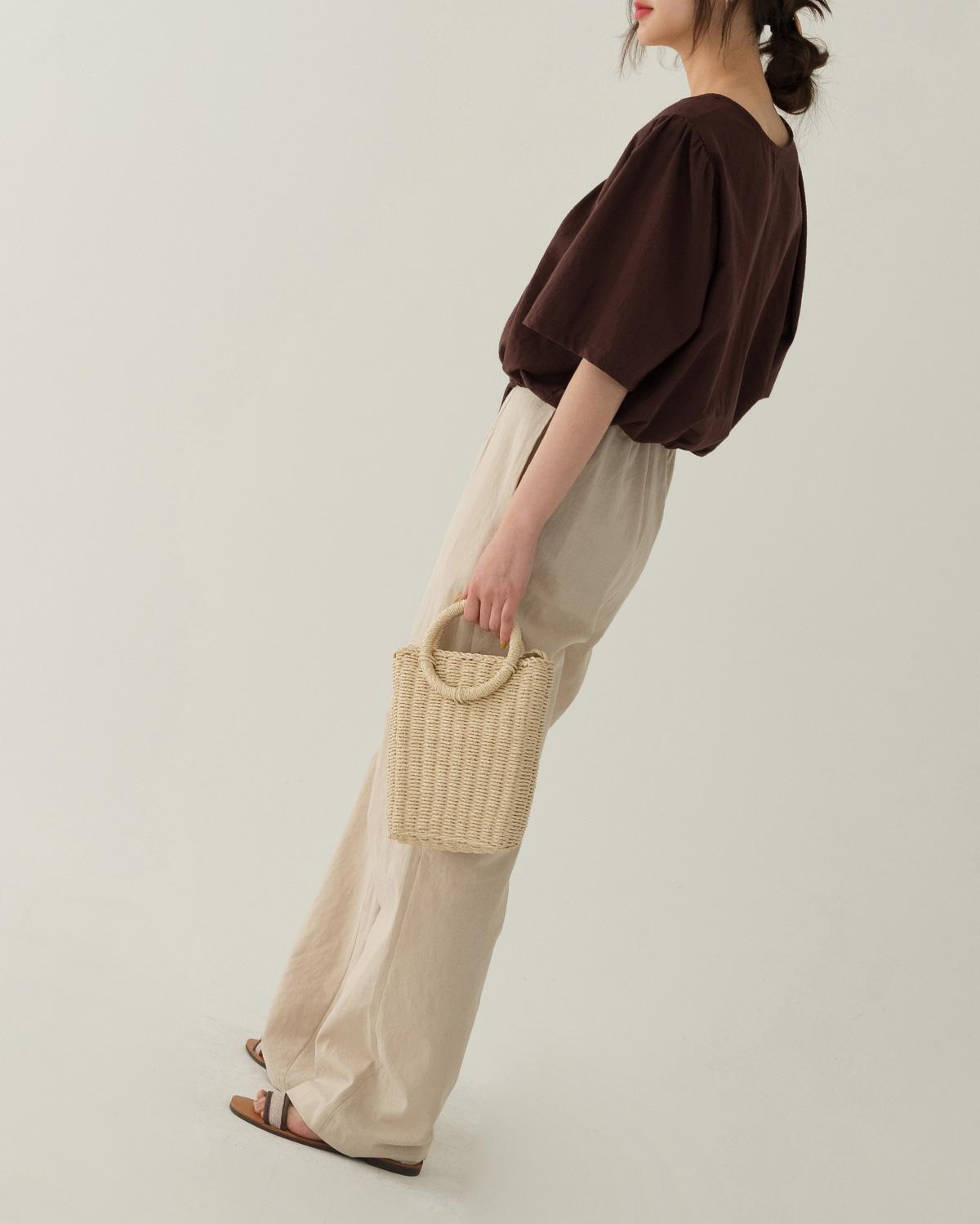 braided square rattan bag