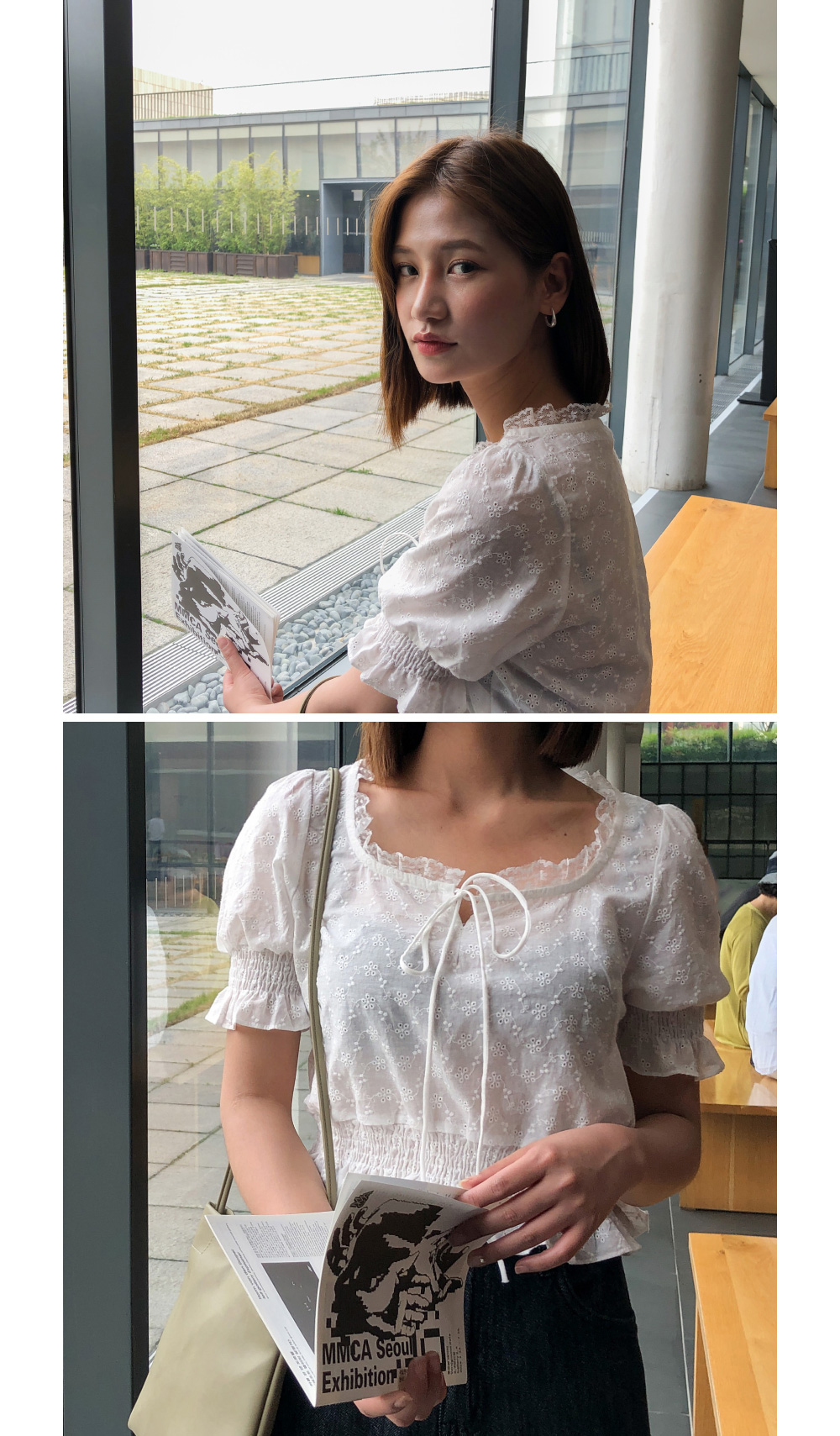 Lace banding punching blouse-bl