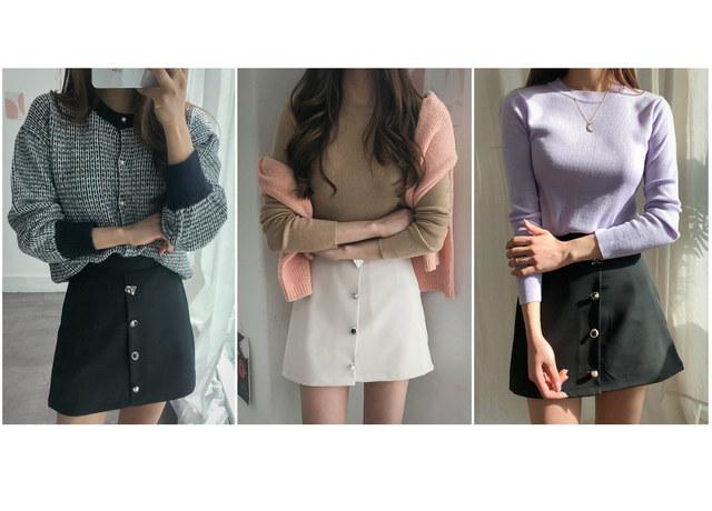 Jewel Button Telmi Mini Skirt