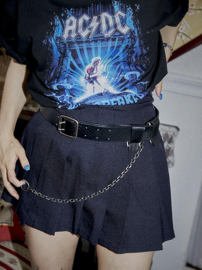 cow hide O-ring chain belt