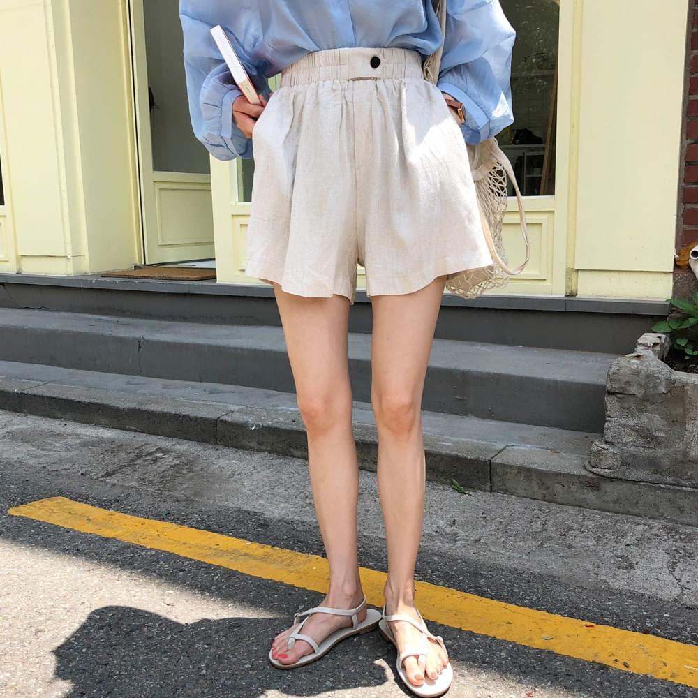 Brown sugar linen shorts