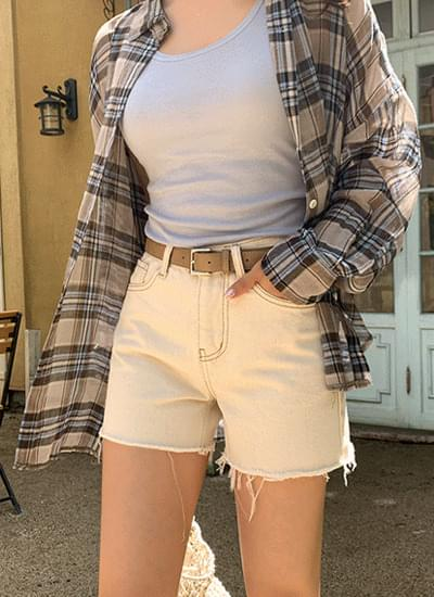 Bevel Stitch Cotton Short Pants
