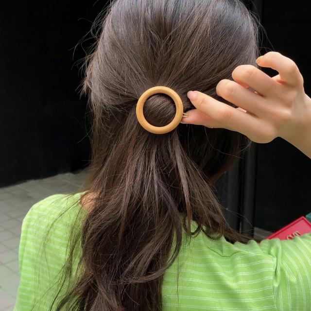 wood circle shape hair pin