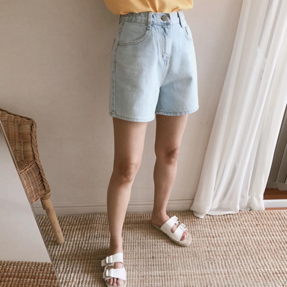 Simple 4-piece soft blue pants