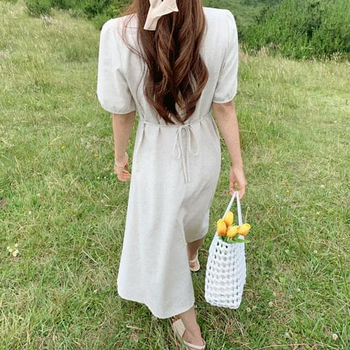 Linen button long dress Serin
