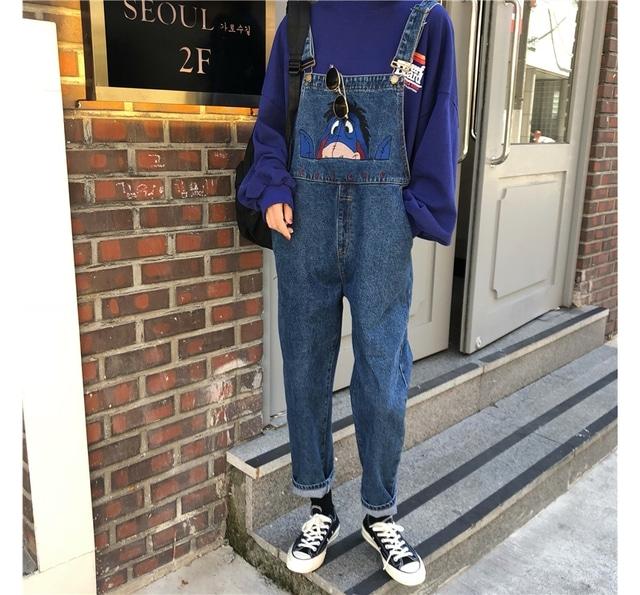Cutie embroidered denim suspenders pants