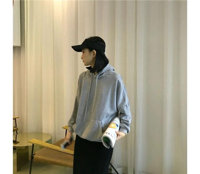 Gray Basic Ruzfit Hooded T-shirt