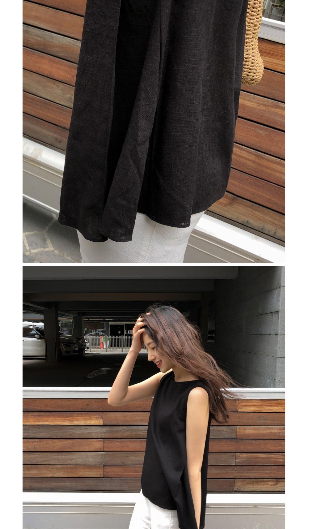 pintuck linen sleeveless