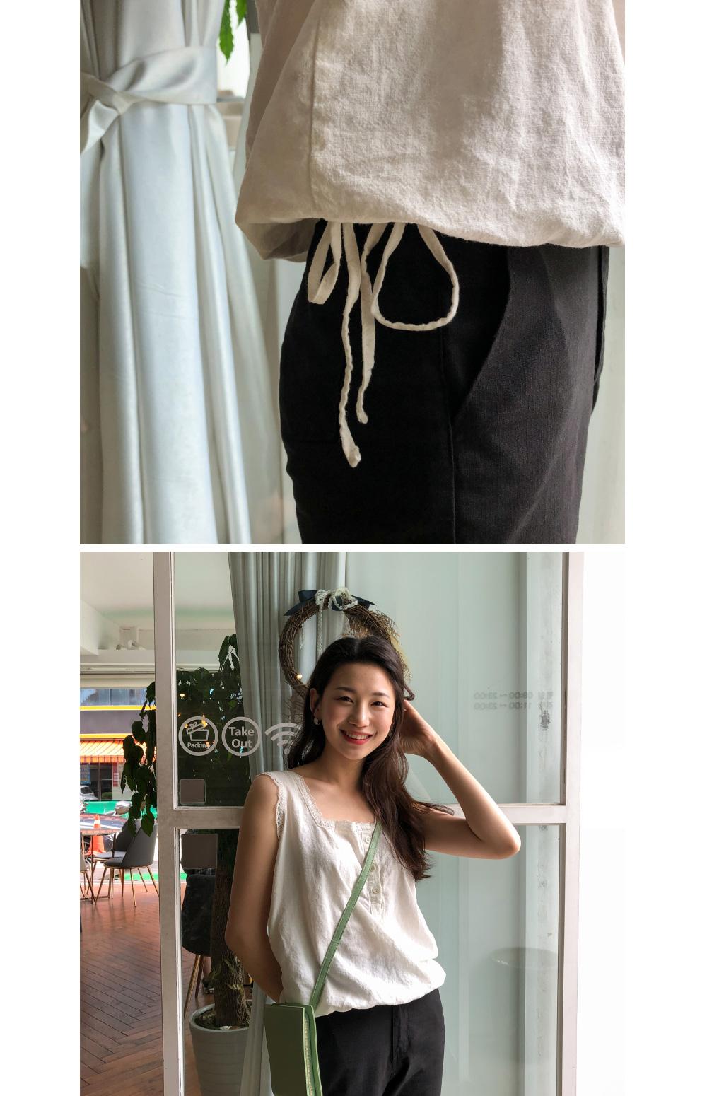 linen lace detail sleeveless