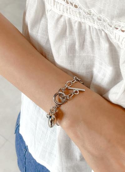 Coring Heart Silver Bracelet